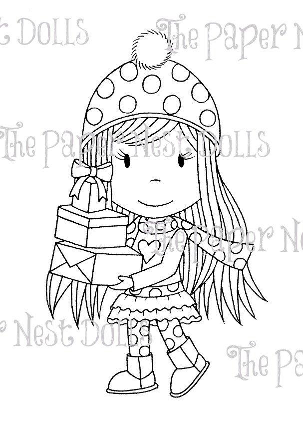 Carimbo Paper Nest Dolls - Modelo Gift Giving Avery  - JuJu Scrapbook