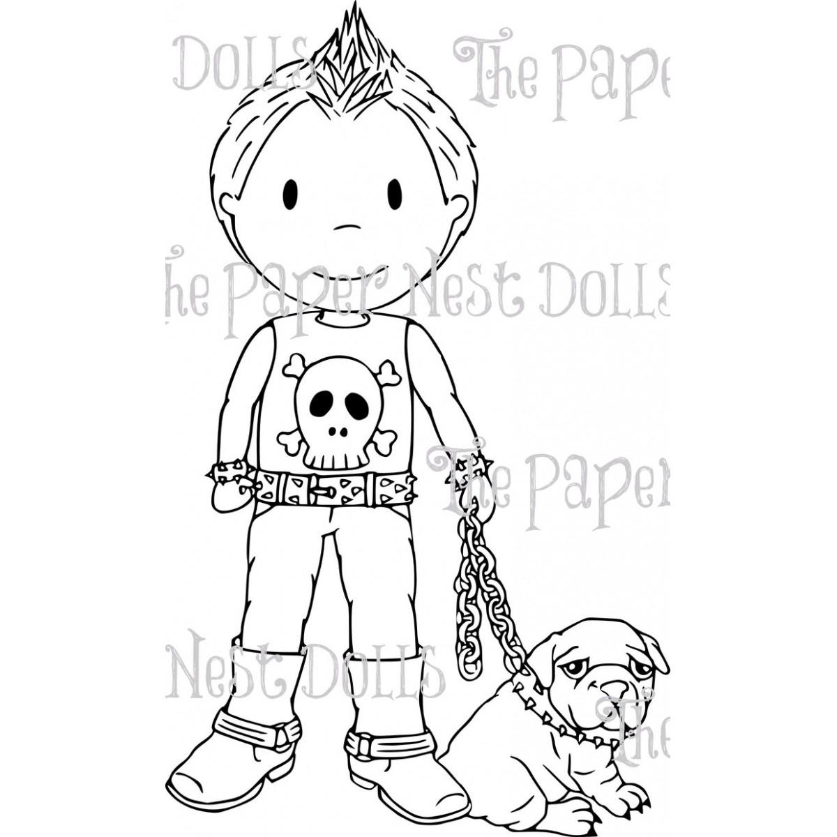 Carimbo Paper Nest Dolls - Modelo Punk Owen  - JuJu Scrapbook