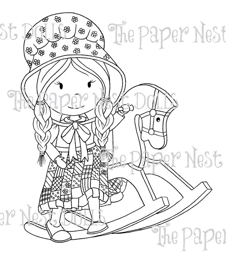 Carimbo Paper Nest Dolls - Modelo Rocking Horse Ellie  - JuJu Scrapbook
