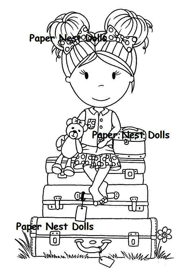 Carimbo Paper Nest Dolls - Modelo Bon Voyage Emma  - JuJu Scrapbook