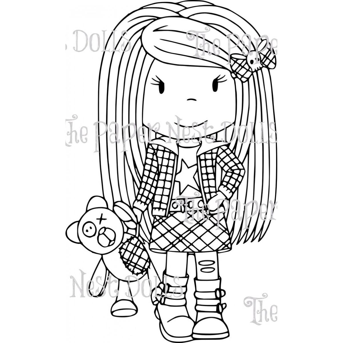 Carimbo Paper Nest Dolls - Modelo Punk Ellie  - JuJu Scrapbook