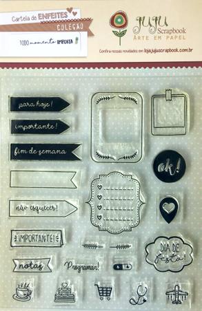 "Cartela de Carimbos Modelo ""Lembretes"" - Coleção Todo Momento Importa / JuJu Scrapbook  - JuJu Scrapbook"