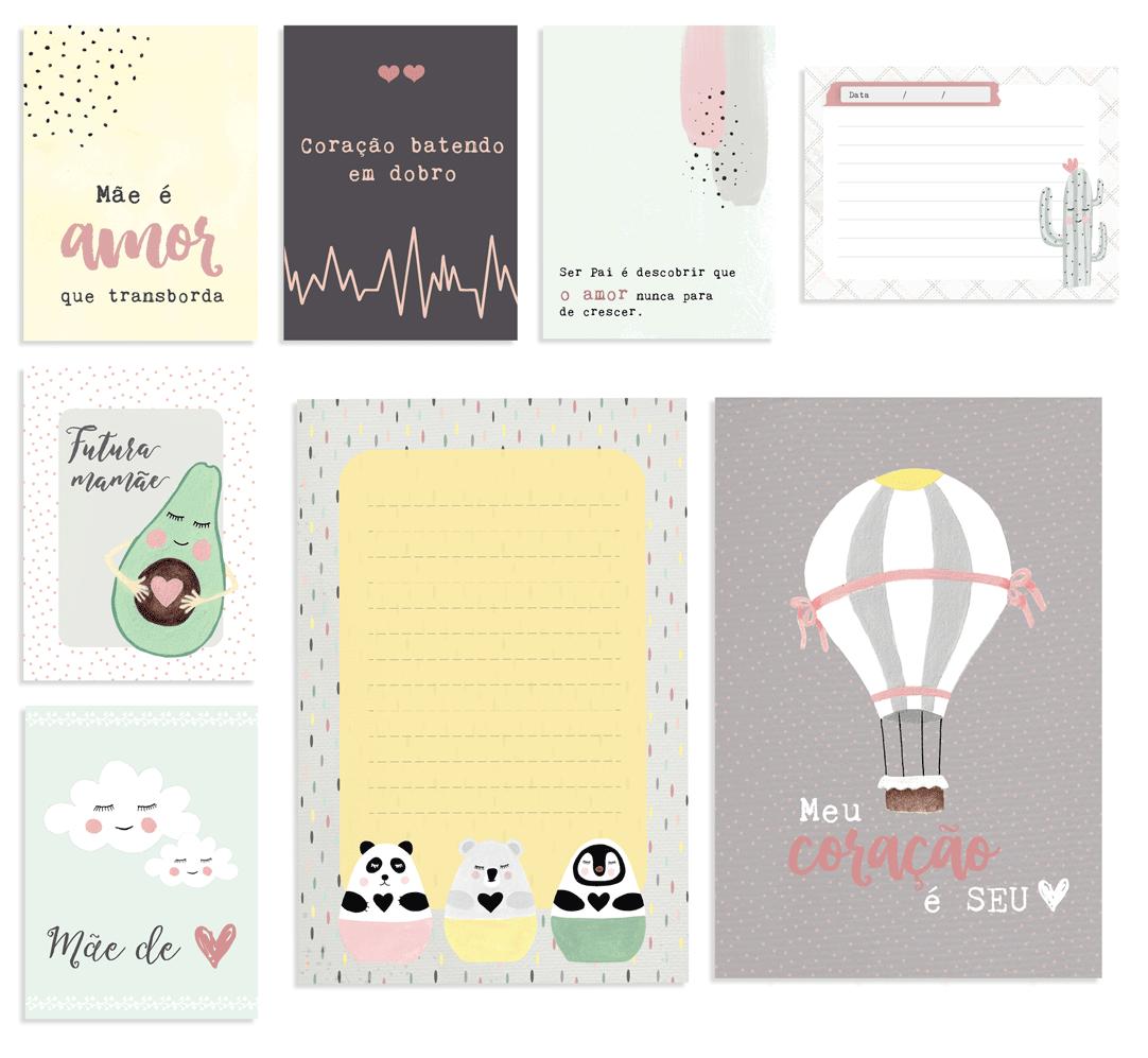 """Kit de Cards Modelo """"Amor que Transborda"""" - Coleção Meu Coração é Seu / JuJu Scrapbook  - JuJu Scrapbook"""