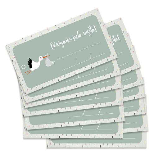Kit de Tags Obrigada pela visita! Modelo Cegonha - Coleção Meu Coração é Seu / JuJu Scrapbook  - JuJu Scrapbook