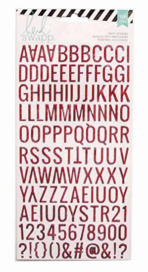 Letras Adesivas Vermelho com Glitter - Heidi Swapp  - JuJu Scrapbook
