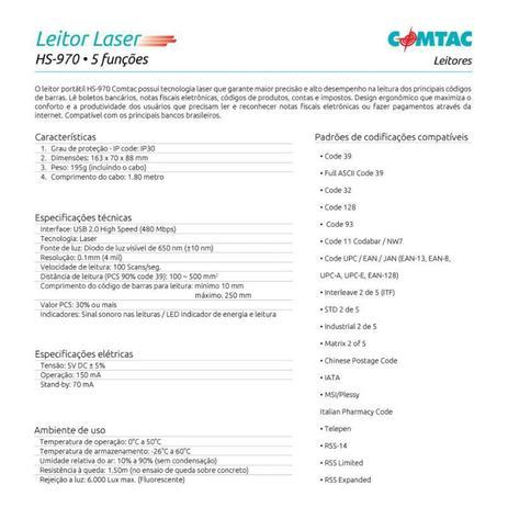 LEITOR DE CODIGO HS970 COMTAC  - Sixtosix