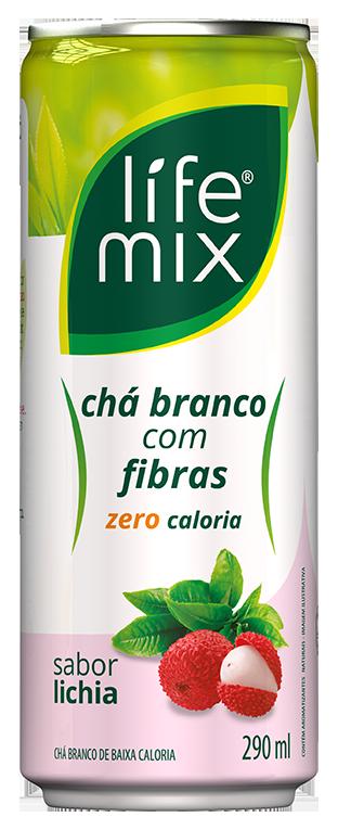 LIFE MIX CHÁ BRANCO COM FIBRAS SABOR LICHIA LATA 290 mL - Frete grátis para cidade SP acima de R$50,00  - Life Mix