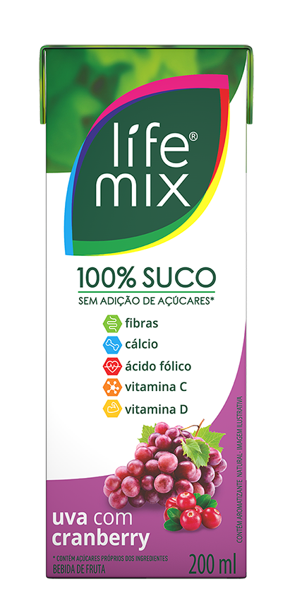 SUCO 100% SABOR UVA COM CRANBERRY - LIFE MIX - 200 ML