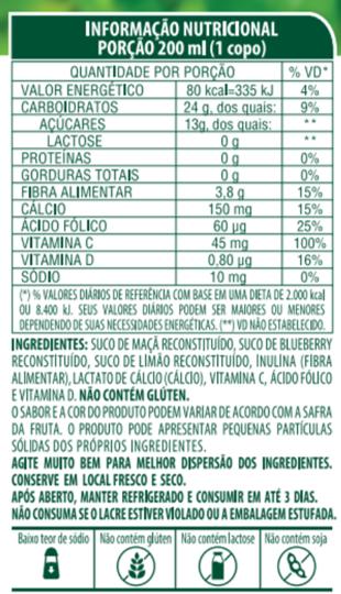 SUCO 100% SABOR BLUEBERRY, MAÇÃ E LIMÃO COM ACEROLA - LIFE MIX - 200 ML
