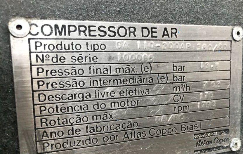 Compressor Parafuso GA110 AtlasCopco 600pcm 13 Revisado C160  - Metalmaq