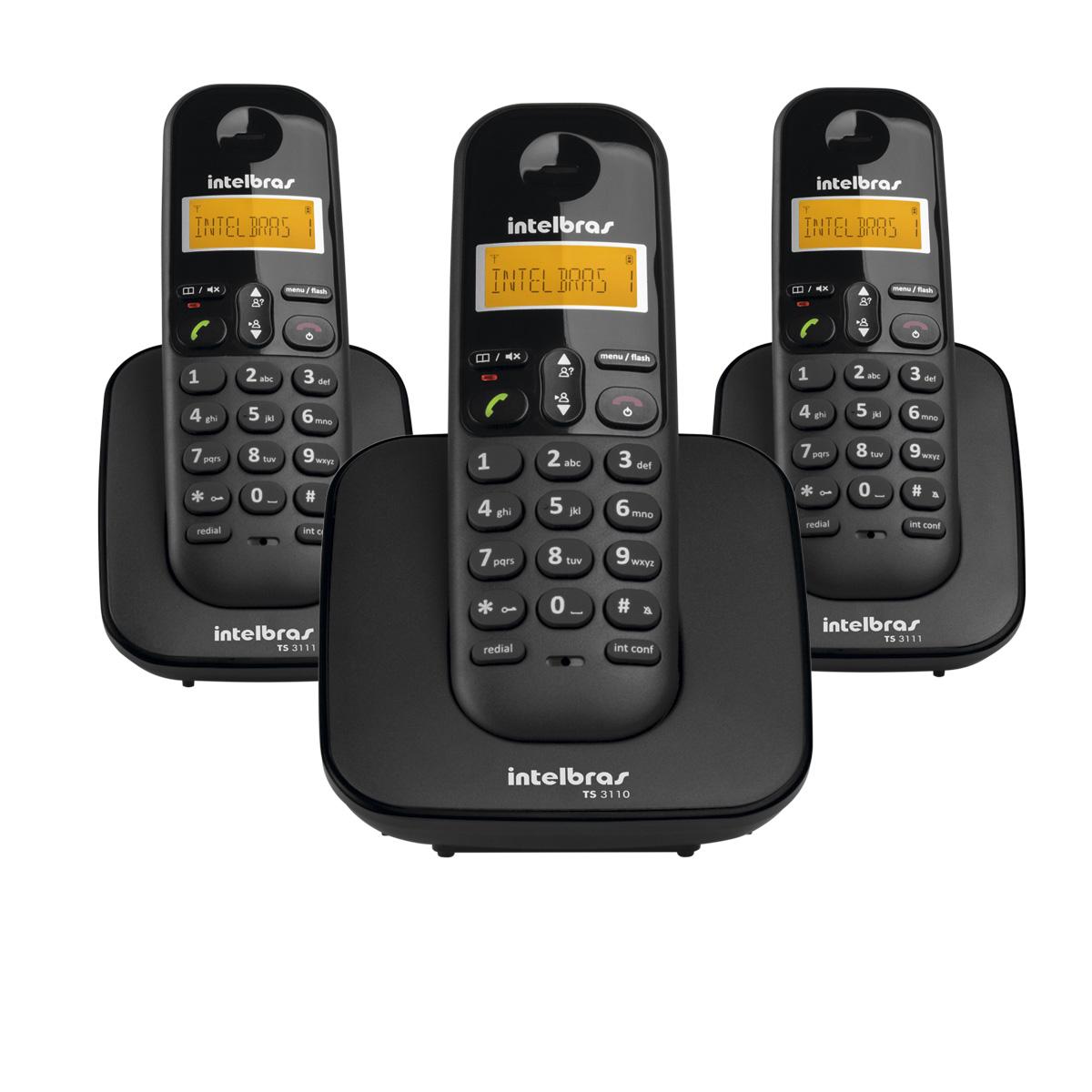 Telefone em Fio Digital com Dois Ramais Adicionais TS 3113 Preto - Intelbras