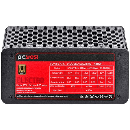 Fonte ATX 430W Electro Series 80 Plus Bronze (PFC Ativo) 21972 - Pcyes