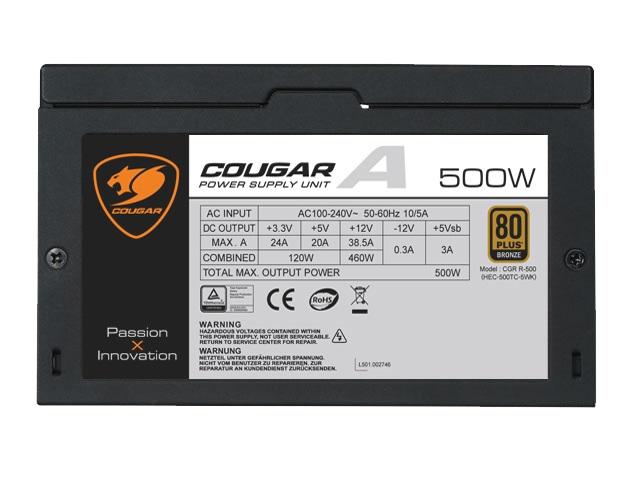 Fonte ATX A500 500W 80 Plus Bronze (PFC Ativo) - Cougar