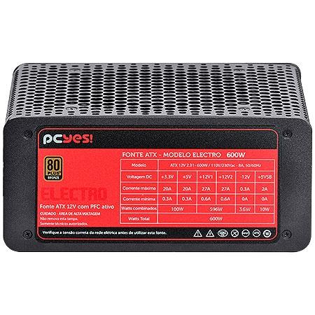 Fonte ATX 600W Electro Series 80 Plus Bronze (PFC Ativo) 22019 - Pcyes