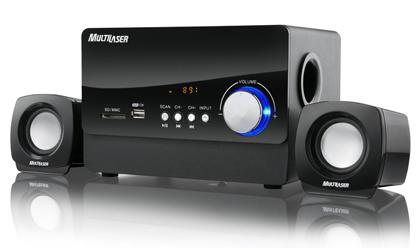 Caixa de som 2.1 com radio FM 20W Rms Usb Preto SP101 - Multilaser
