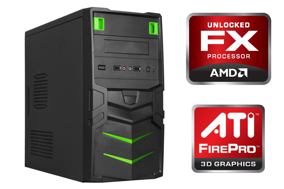 Computador para Engenharia/Autocad Quad-Core 3.8Ghz 8GB HD 1TB Video Firepro 2270 1GB DDR3 Fonte 500W - Glacon