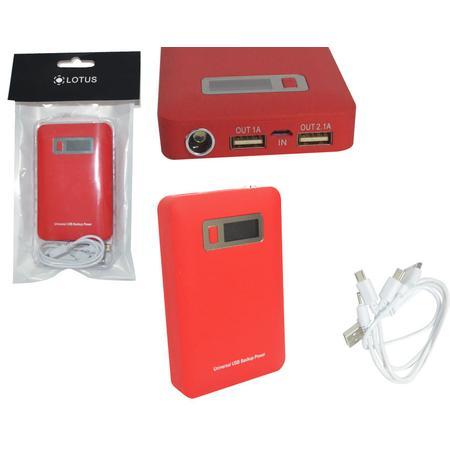 Carregador Port�til Universal USB/V8/V3/Iphone 5V Power Bank 12000mAc Vermelho AD0229R