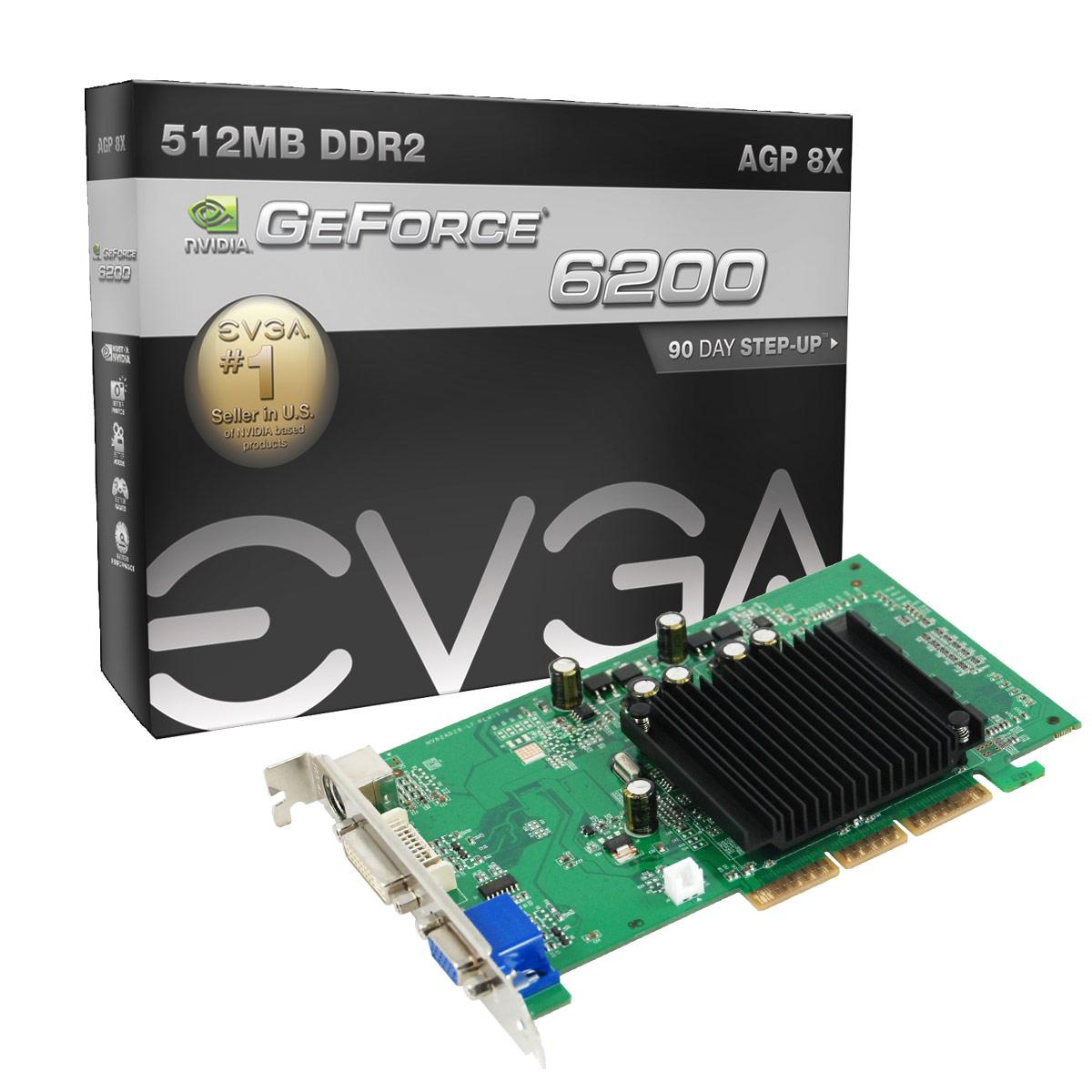 Placa de Video AGP GeForce FX6200 512MB DDR2 64Bits DVI-VGA 512-A8-N403-LR - EVGA