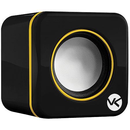 Caixa de Som 2.0 USB 6W RMS (2x3W) VS-101 Preta/Amarela 16810 - Vinik