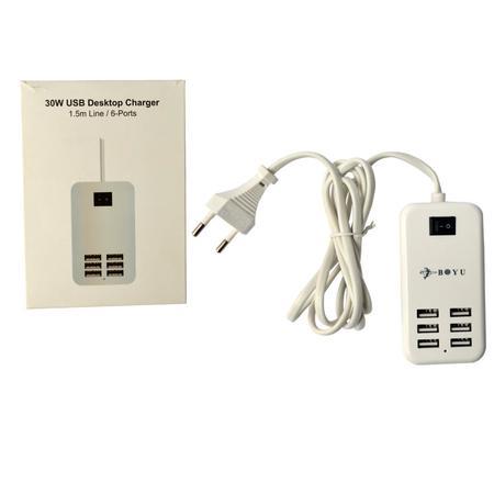 Carregador USB 6 Portas C/Cabo 1,5M DC 5V/6A 30W AD0213 - Boyu