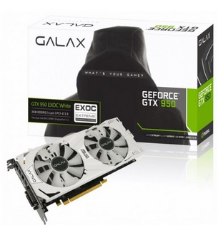 Placa de Vídeo GeForce GTX950 EX OC White 2GB DDR5 128Bit 95NPH8DVE8EW - Galax