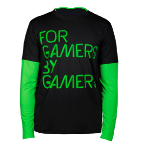 Camiseta Neon Manga Longa Preto/Verde Masculino (Médio) - Razer