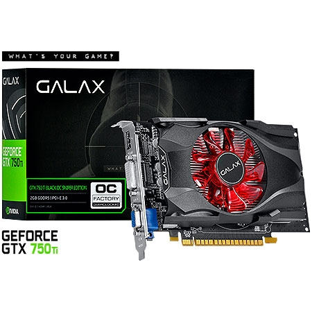 Placa de Vídeo Geforce GTX750 TI Black OC Sniper Edition 2GB DDR5 128Bits 75IPH8DVF4CB - Galax