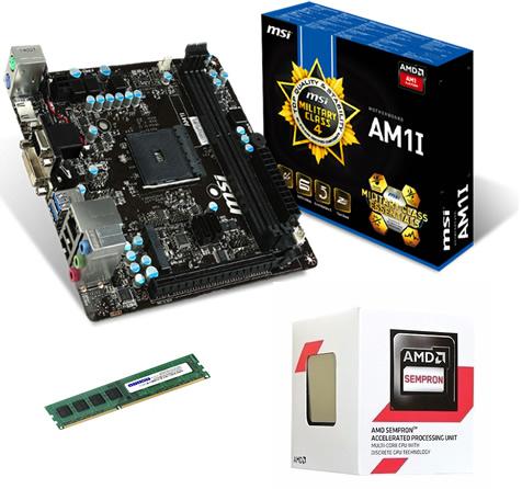 Kit AM1 Placa Mãe MSI Kabini + Processador Sempron Dual Core 1.45Ghz + Memória de 4GB  1600Mhz Avant