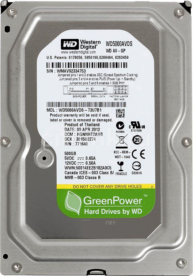 HD de 500GB Sata 3.0Gb/s 3,5 7200RPM WD5000AVDS - Western Digital