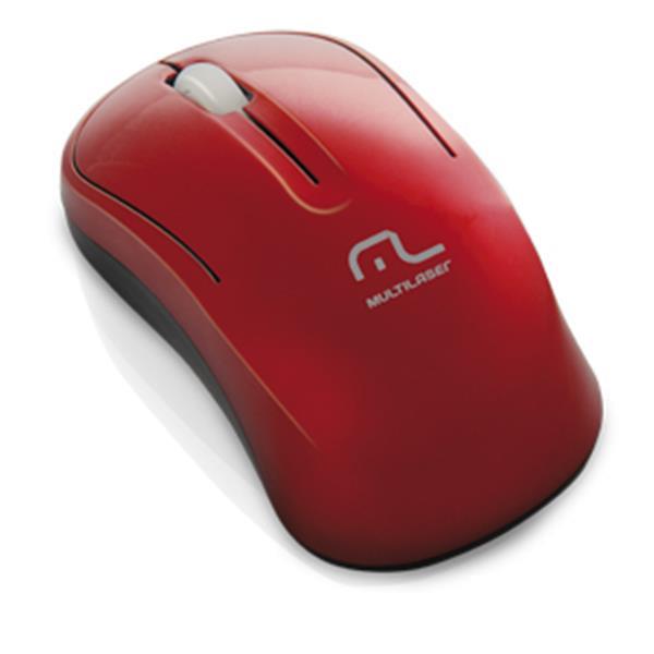 Mouse Sem Fio 2.4Ghz Eco Vermelho 1000DPI USB MO176 - Multilaser