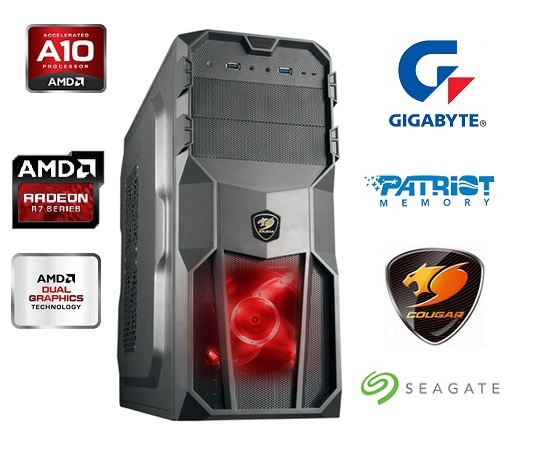 Computador AMD A10 7700K Quad Core 3.5Ghz Memória 8GB HD 1TB Video ATI R7 250 2GB Fonte 500W PFC