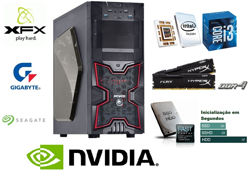 Computador 6ª Geração Intel Core i3 6100 3.7Ghz Mem 8GB DDR4 SSHD 1TB GTX 950 2GB Fonte 500W PFC