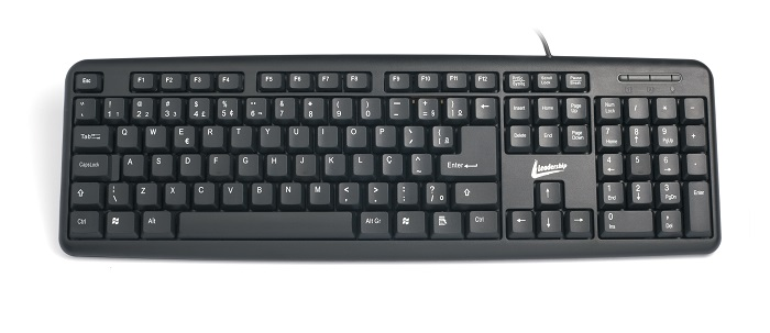 Teclado Standard PS2 Preto 7636 - Leadership