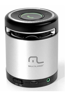 Mini Caixa de Som Portátil Bluetooth USB 10w Cinza e Preto SP155 - Multilaser