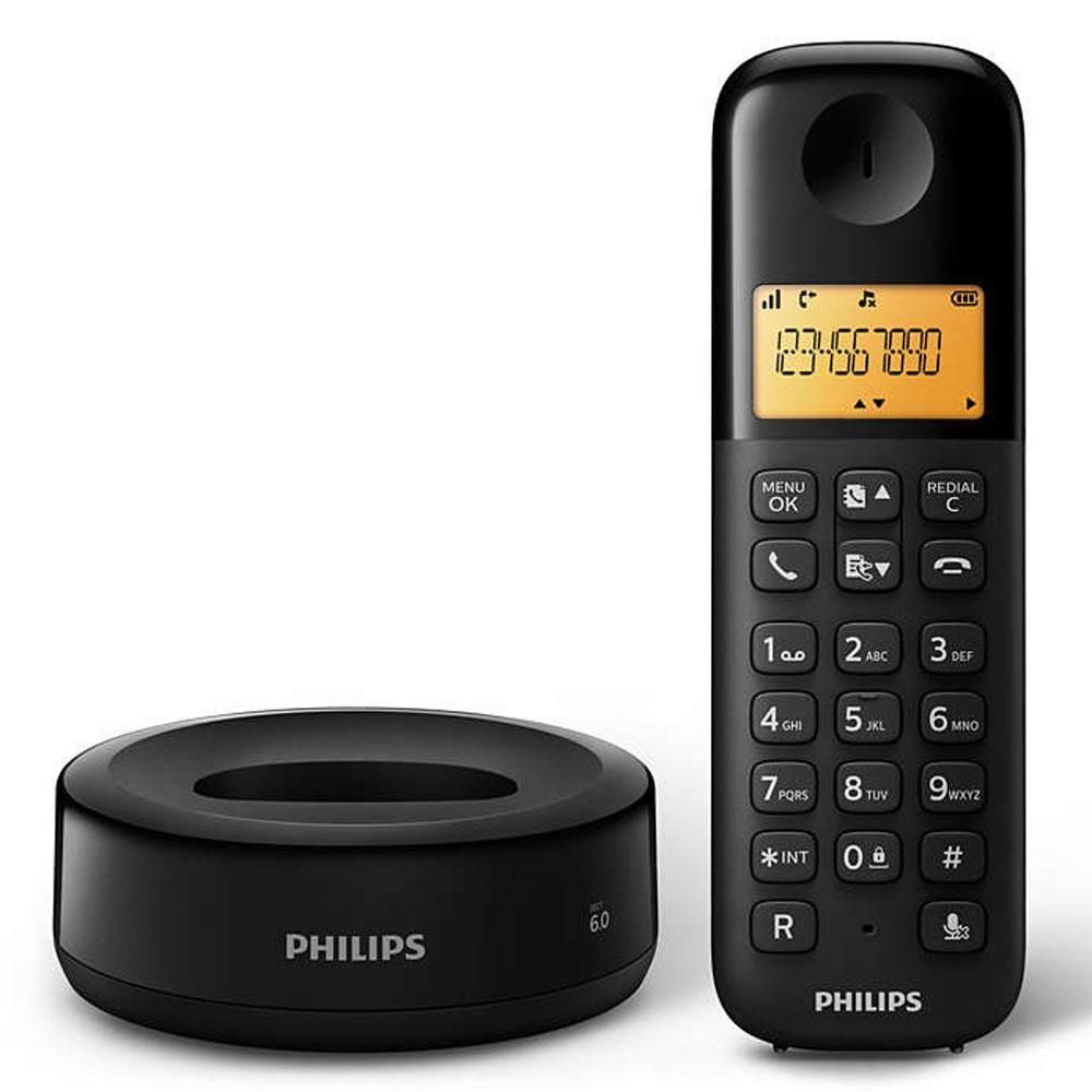 Telefone sem Fio Philips D1301B/BR com Identificador de Chamadas e Display de 1,6 Preto - Philips