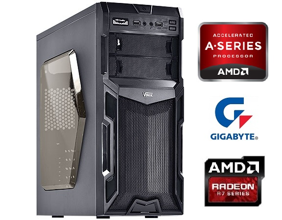 Computador AMD FM2 7300 4.0Ghz Mem 4GB DVD-RW HD 1TB Video R7 260X 2GB DDR5 Fonte 500W - Glacon