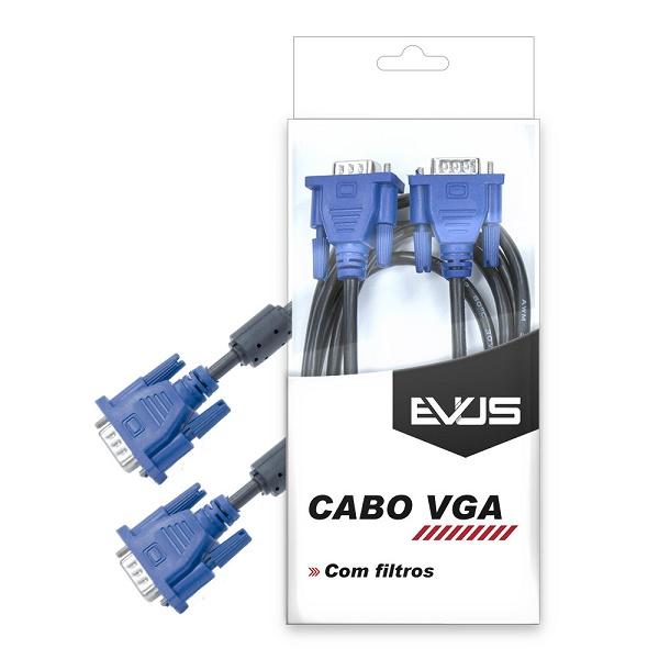 Cabo VGA 1.5m C/Blister HD15M x HD15M preto com filtros C-003 - Evus