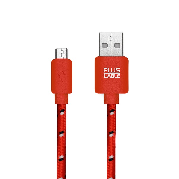 Cabo para Iphone USB-MC1002 RD Micro USB 1.0 metro Vermelho Nylon - Plus Cable