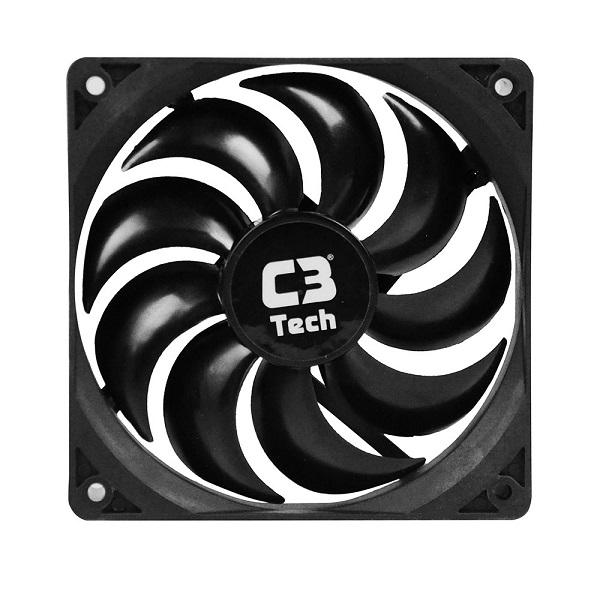 Cooler para Gabinete F9-100 BK STORM 3 Pinos 12x12x2,5 cm - C3 Tech