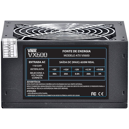 Fonte ATX 600W VX600 - Vinik