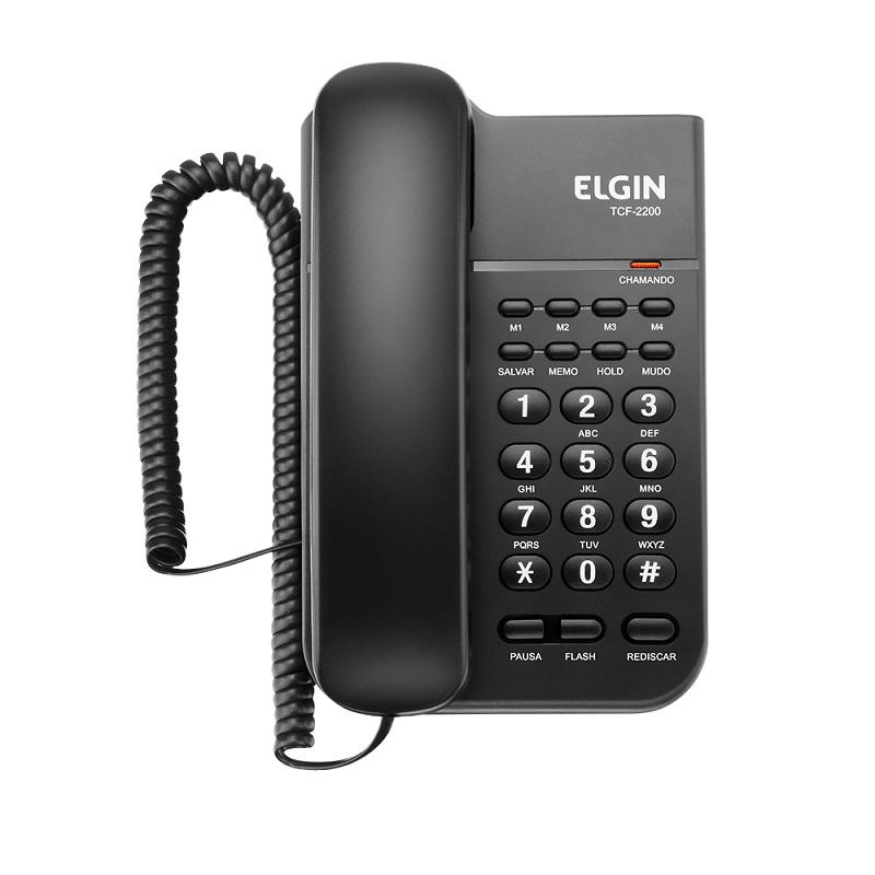 Telefone com Fio TCF-2200 C/Memória e Chave de Bloqueio Preto - Elgin