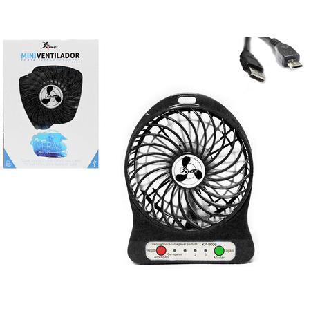 Mini Ventilador Portátil Recarregável 4 Helices 5V Preto KP-9006 (VENT0003KPB) - Knup