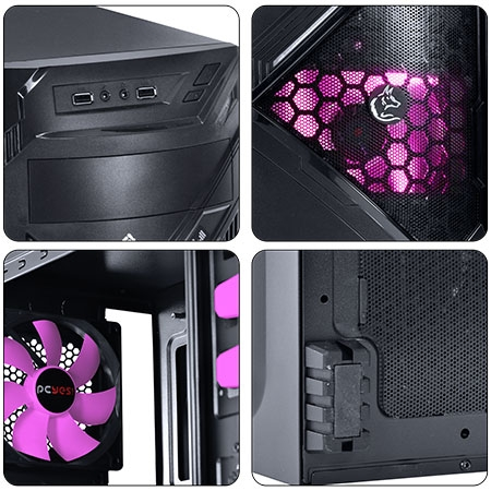 Gabinete Midtower Chacal Rosa Lateral de Acrílico 24564 - Pcyes