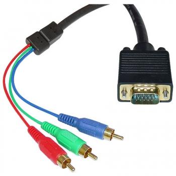 Cabo VGA x Video Componente 1.8M Preto para uso em Projetores 15806 - Pcyes