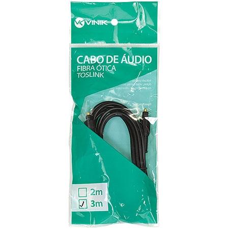 Cabo de Áudio em Fibra Óptica Macho X Macho 3 Metros Toslink ATC-3 23541 - Vinik