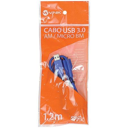 Cabo USB 3.0 A Macho X Micro USB B Macho 1.2 Metros U3AMBMC-2 - Vinik
