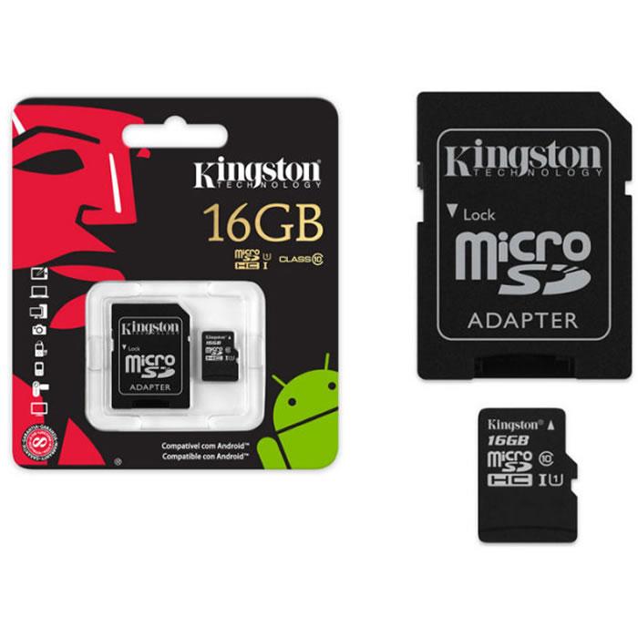 Cartão de Memória Micro SD 16GB com Adaptador SD Android Classe 10 KC-C3016-4V1 - Kingston