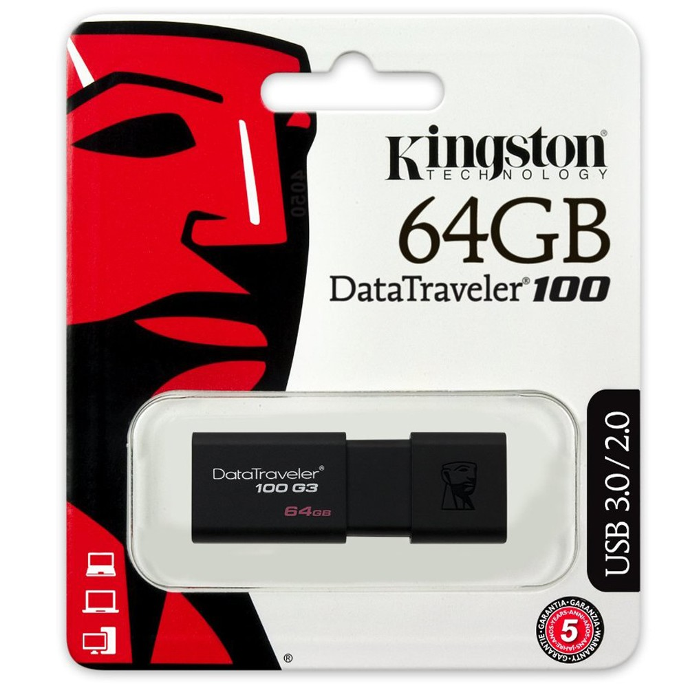Pen Drive DataTravaler USB 3.0 64GB DT100G3/64GB - Kingston