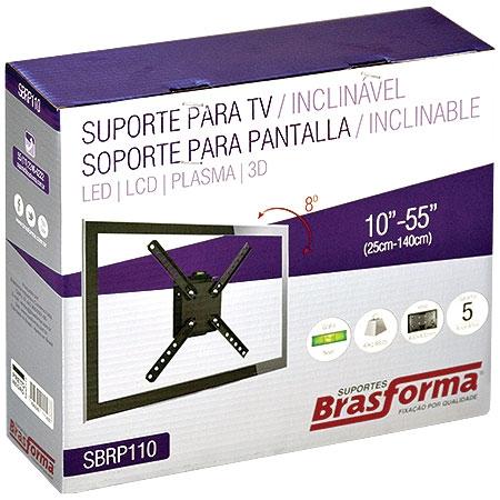 Suporte para TV ou Monitor LCD de 10 a 55 SBRP110 Preto com Inclinação de até 8° - Brasforma