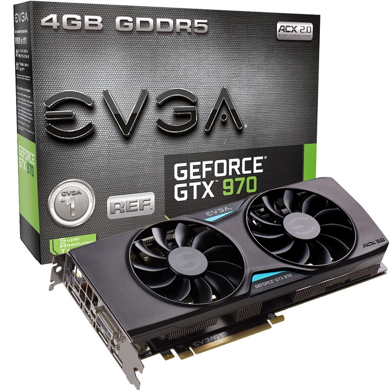 Placa de Vídeo Geforce GTX970 4GB 4GB ACX 2.0 DDR5 256Bits 4K Ready 04G-P4-3973-KR - EVGA